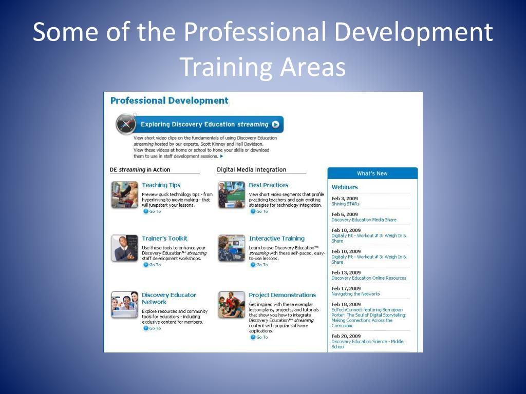 Some of the Professional Development Training Areas