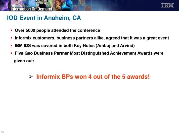 IOD Event in Anaheim, CA