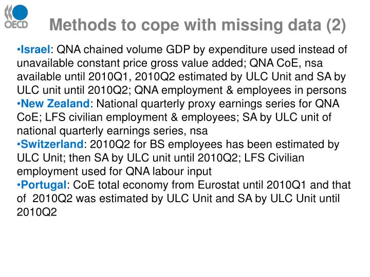 Methods to cope with missing data (2)