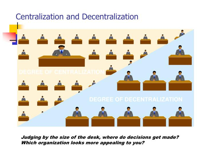 centralization and decentralization Decentralization is the process of redistributing or dispersing functions, powers, people or things away from a central location or authority[1][2] while centralization, especially in the governmental sphere, is widely studied and practiced, there is no common definition or understanding of decentralization.