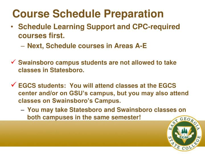 Course Schedule Preparation