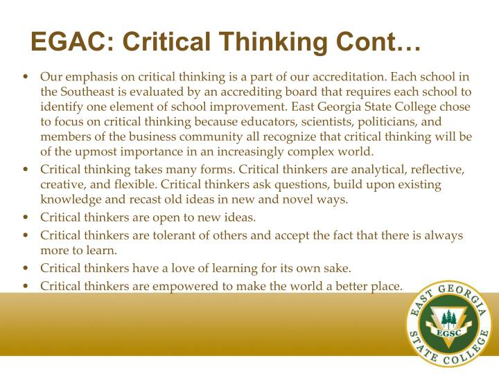 EGAC: Critical Thinking Cont…