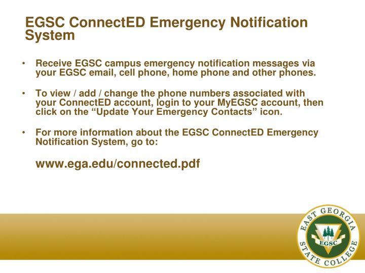 EGSC ConnectED Emergency Notification System