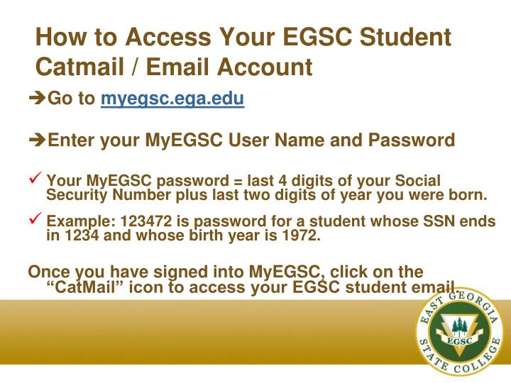 How to Access Your EGSC Student