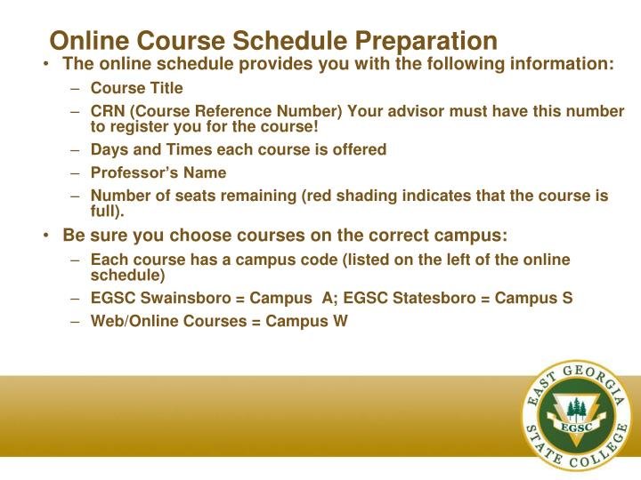 Online Course Schedule Preparation