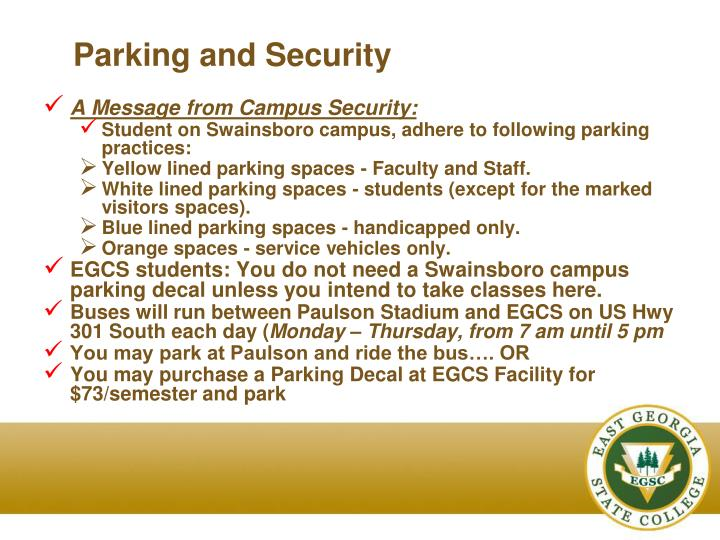 Parking and Security