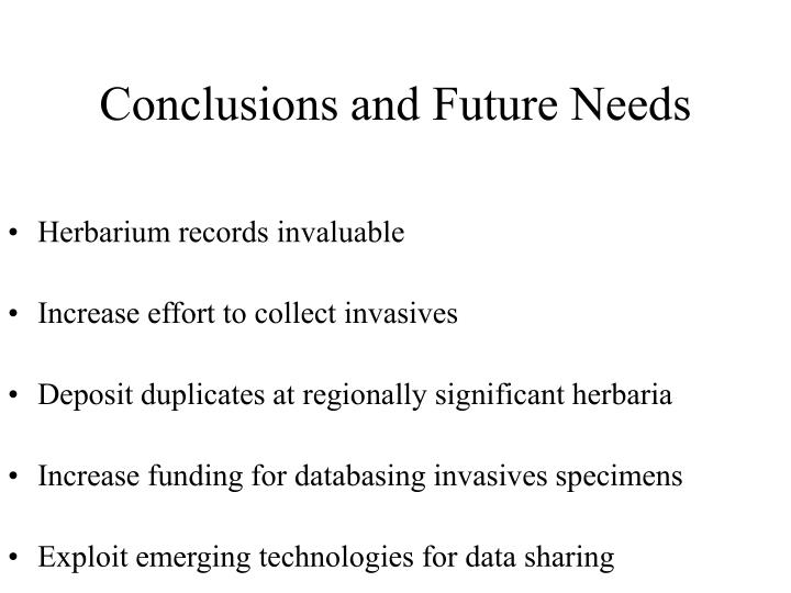 Conclusions and Future Needs