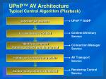 upnp av architecture typical control algorithm playback