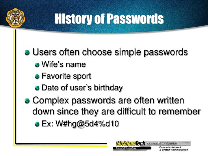 History of Passwords