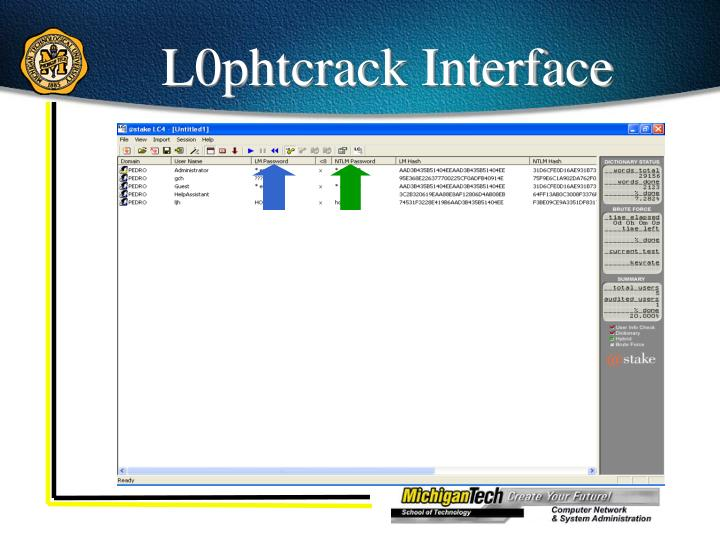 L0phtcrack Interface