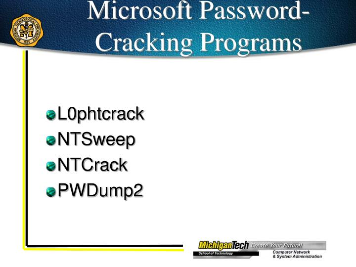 Microsoft Password-Cracking Programs