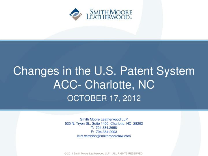 changes in the u s patent system n.