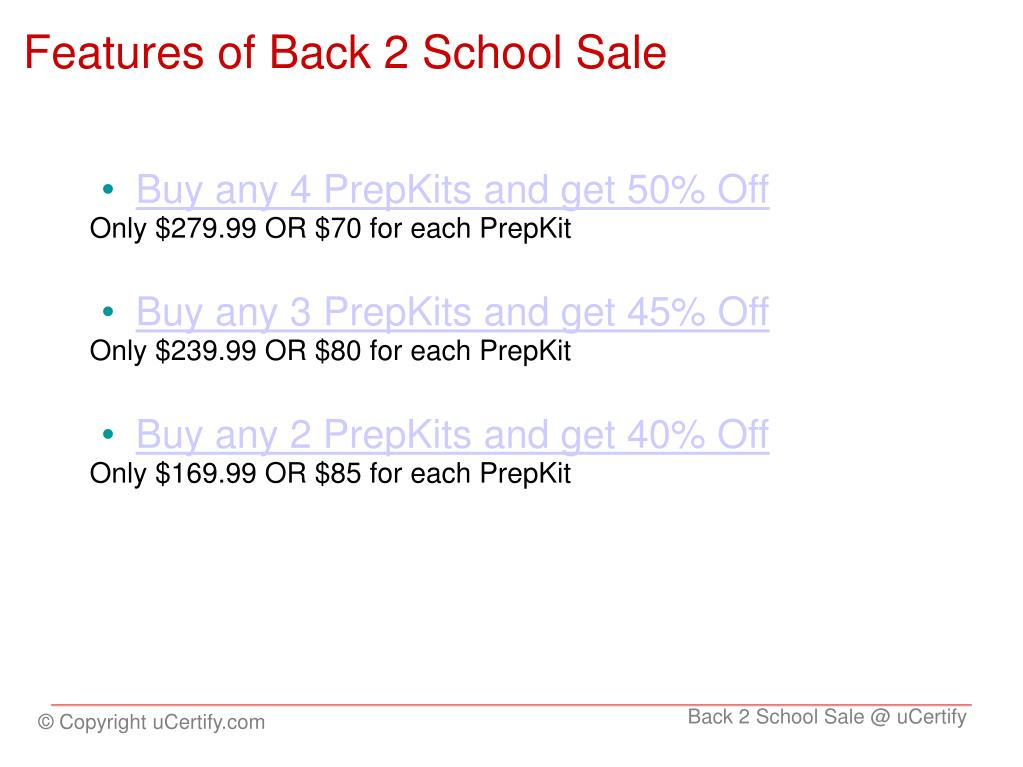 Features of Back 2 School Sale