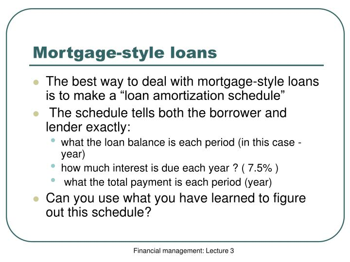 Mortgage-style loans