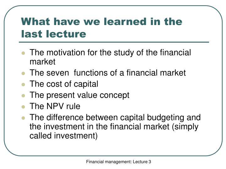 What have we learned in the last lecture