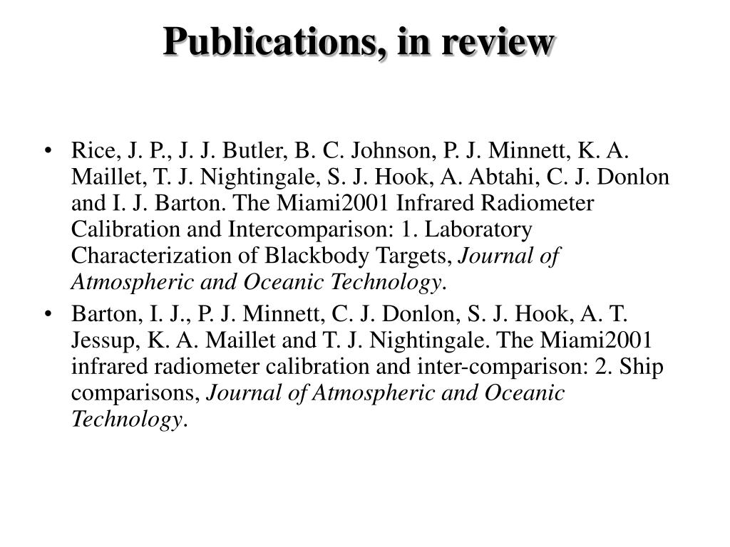 Publications, in review