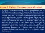 about k raheja constructions mumbai
