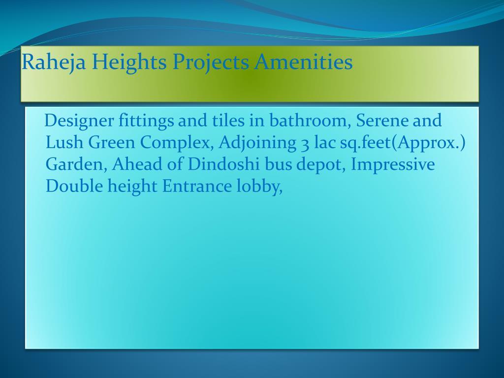 Raheja Heights Projects Amenities