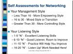 self assessments for networking