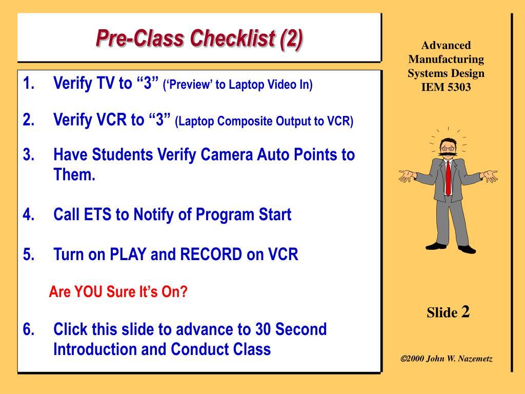 Pre-Class Checklist (2)