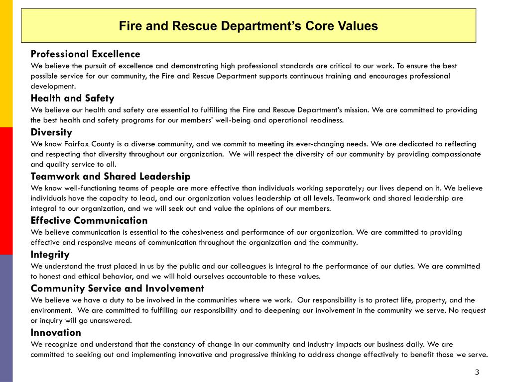 Fire and Rescue Department's Core Values