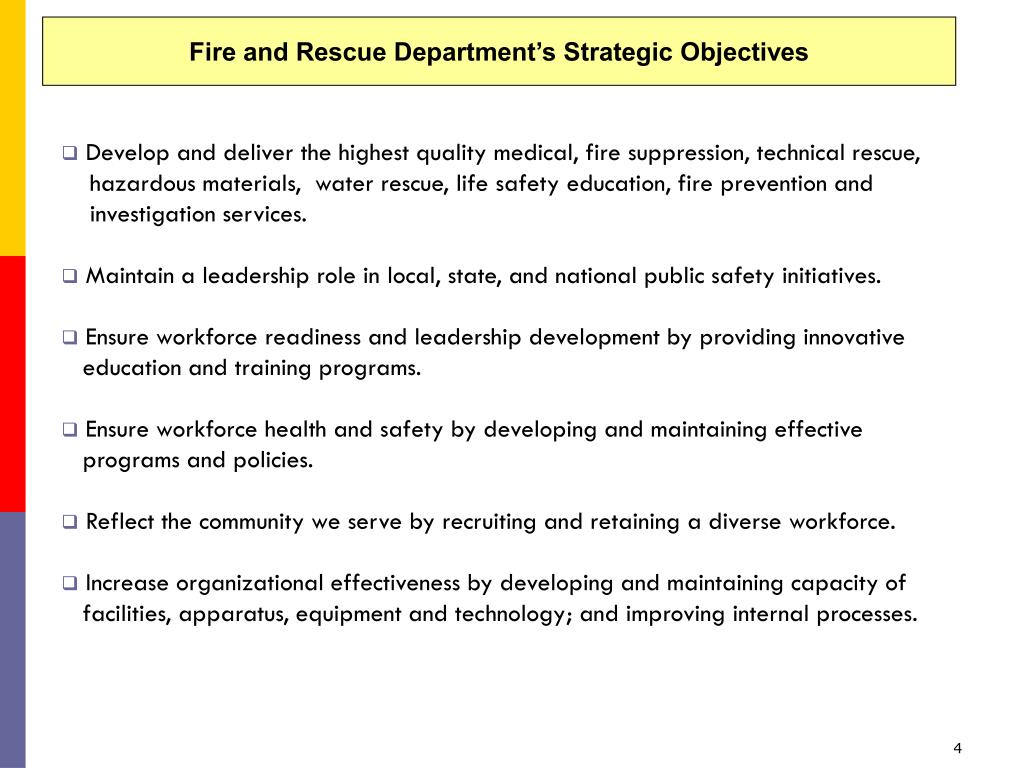 Fire and Rescue Department's Strategic Objectives