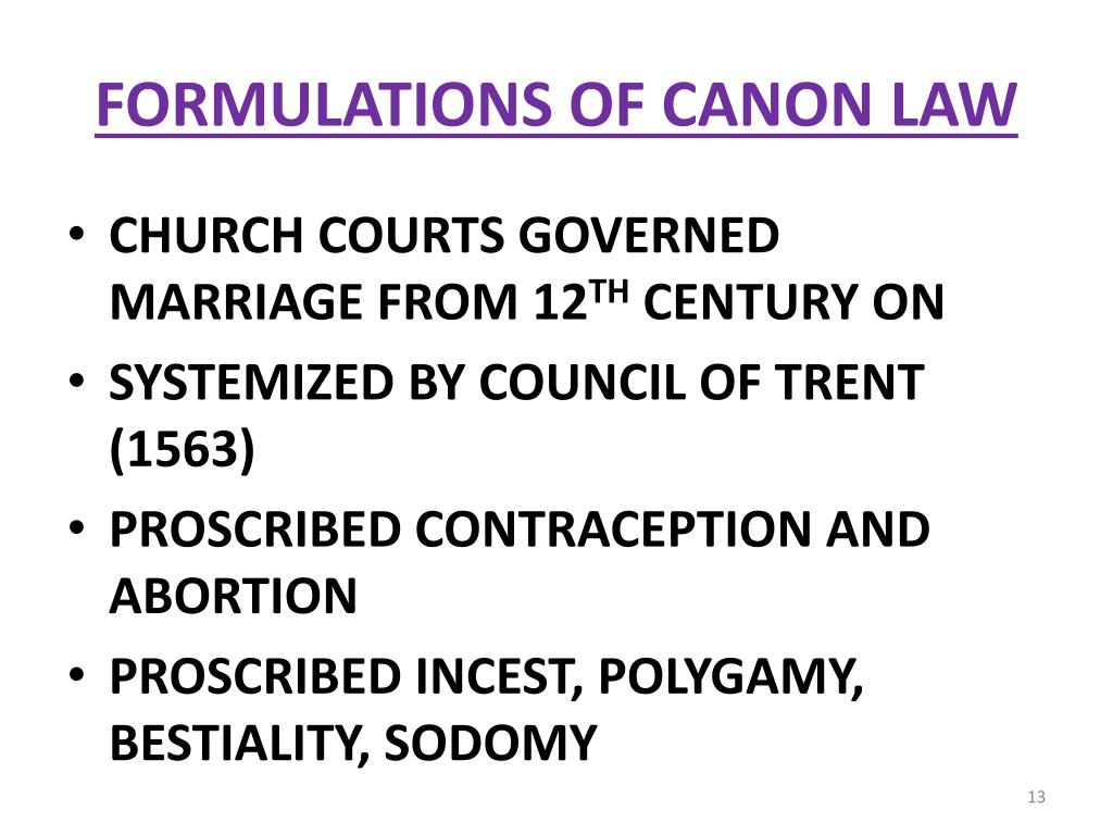FORMULATIONS OF CANON LAW