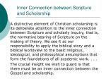 inner connection between scripture and scholarship