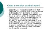 order in creation can be known