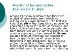 rejection of two approaches biblicism and dualism