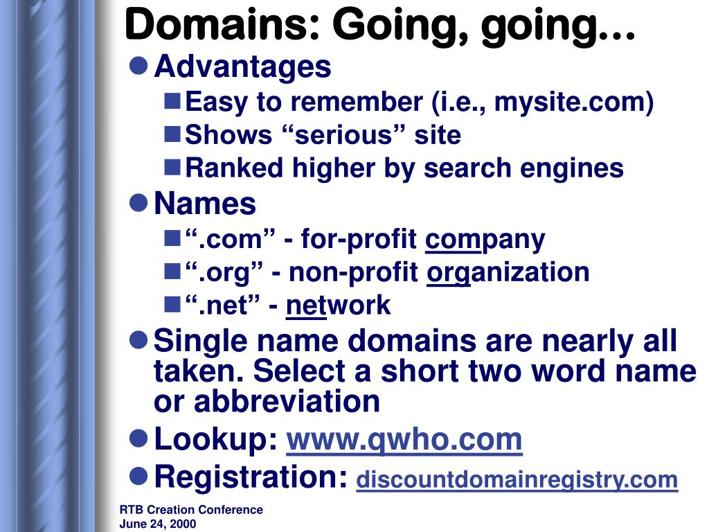 Domains: Going, going...