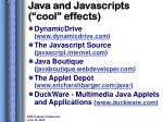 java and javascripts cool effects