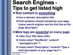 search engines tips to get listed high