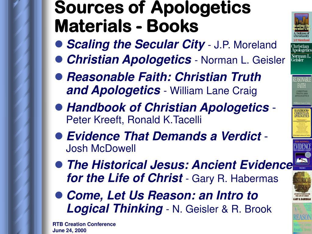 Sources of Apologetics Materials - Books