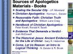 sources of apologetics materials books