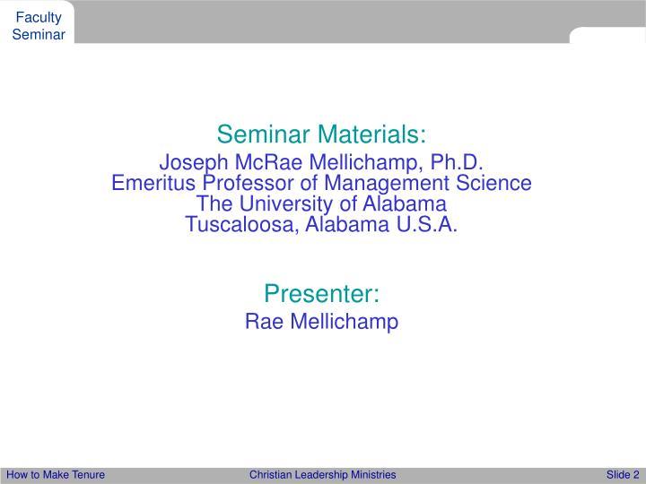 Seminar Materials: