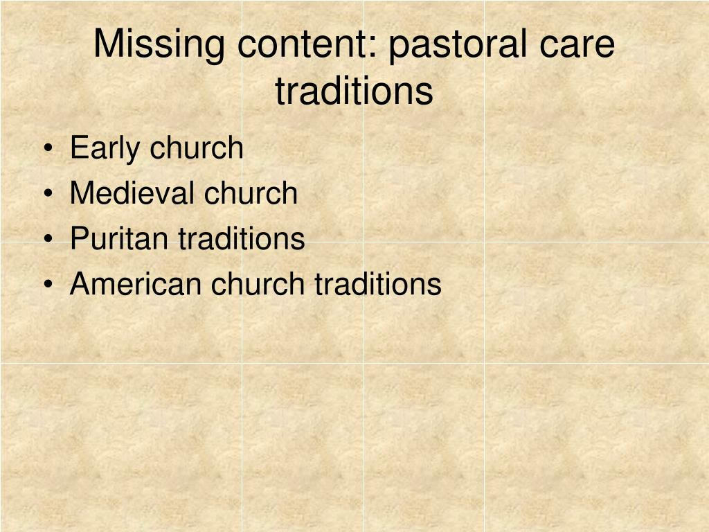 Missing content: pastoral care traditions