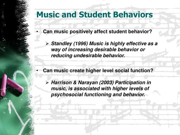 Music and student behaviors