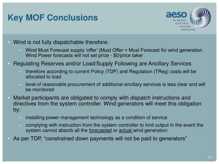 Key MOF Conclusions