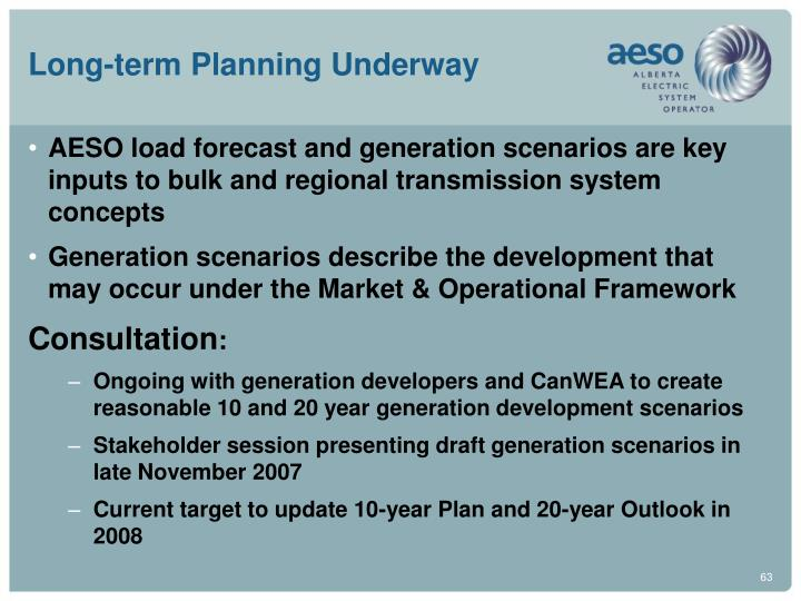 Long-term Planning Underway