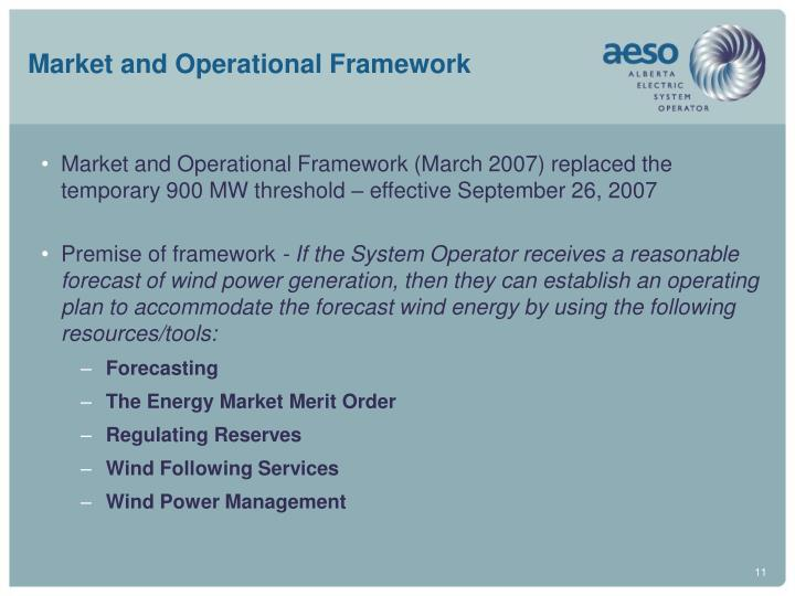 Market and Operational Framework