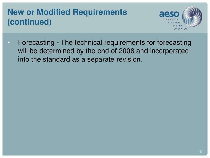 New or Modified Requirements (continued)