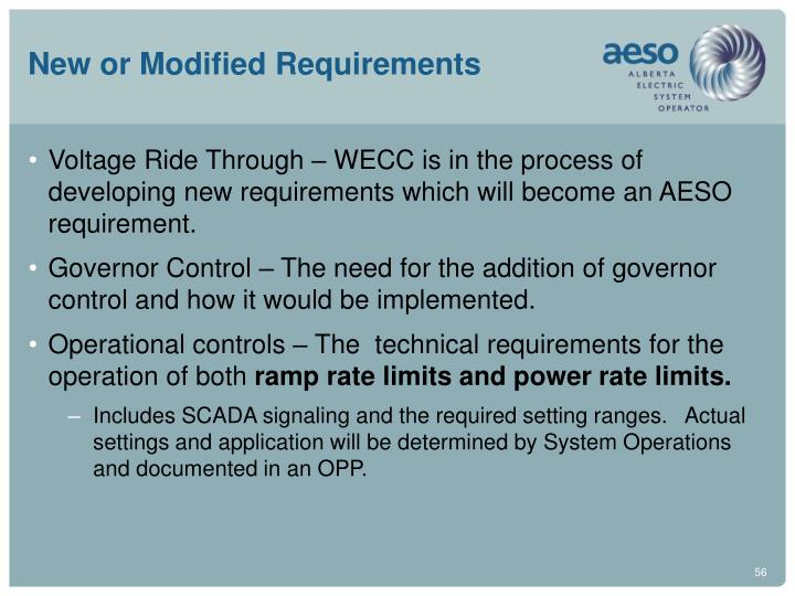 New or Modified Requirements