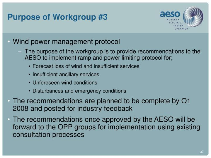Purpose of Workgroup #3