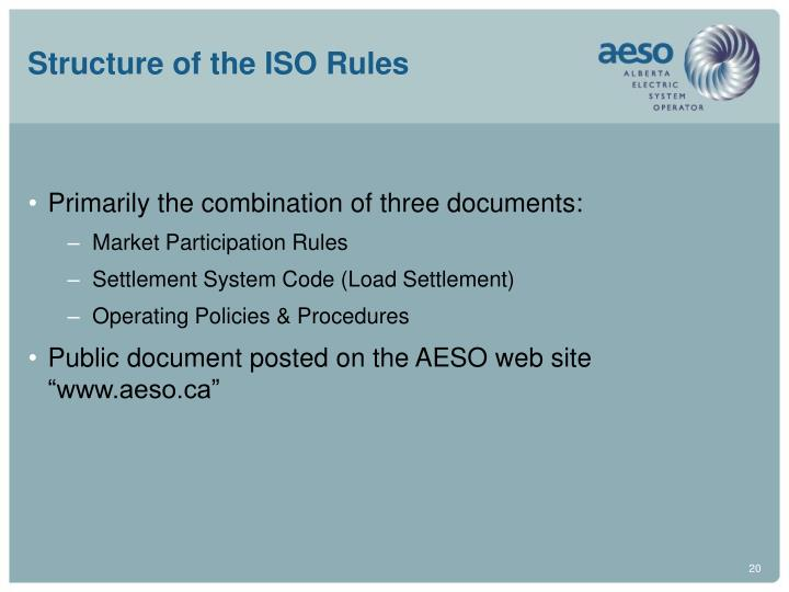 Structure of the ISO Rules