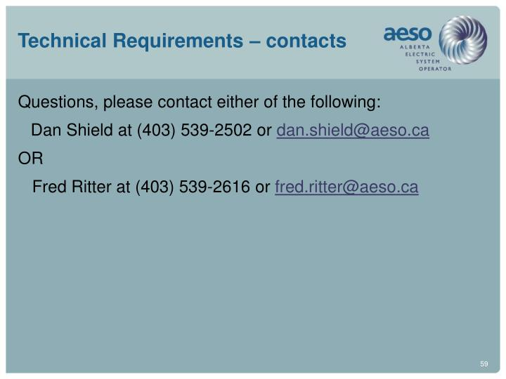 Technical Requirements – contacts