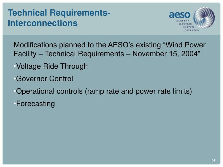 Technical Requirements-Interconnections
