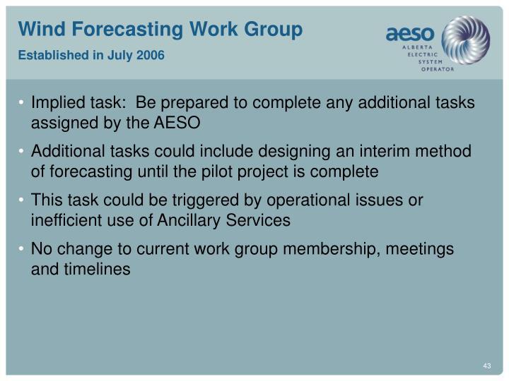 Wind Forecasting Work Group