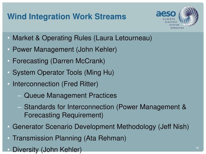 Wind Integration Work Streams
