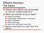 effective advocacy the dance